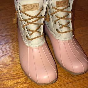 Light Pink And Beige Sperry Duck Boot